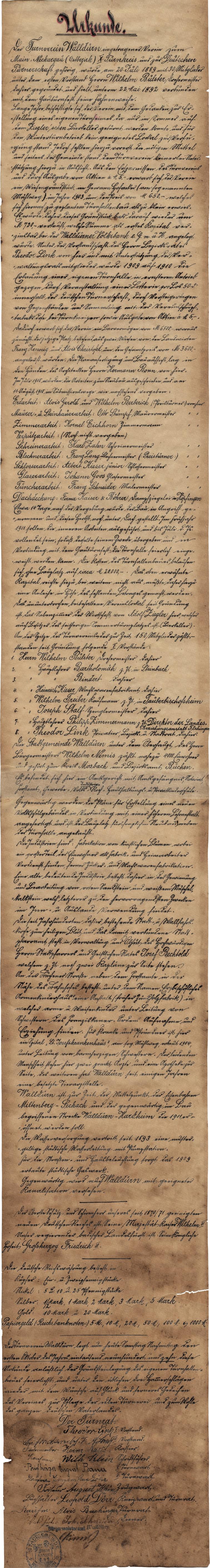Urkunde aus dem Zeitkapselfund Turnhalle Keimstrasse