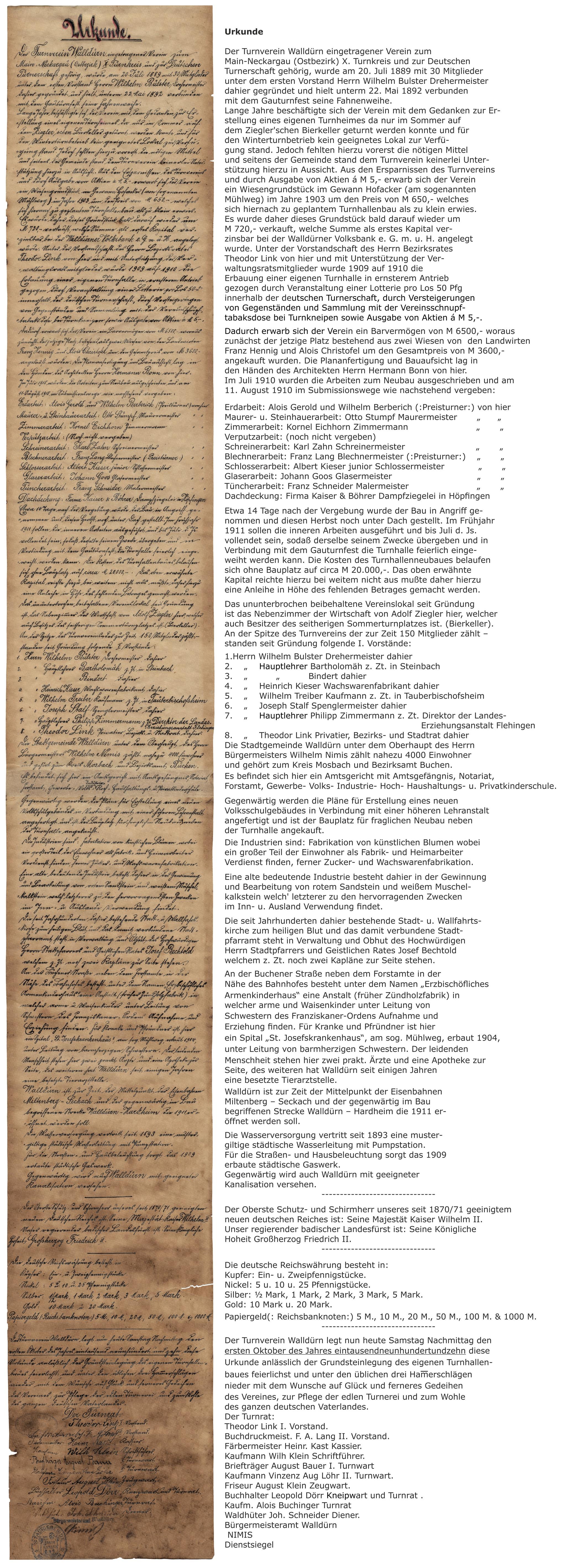 Urkunde aus dem Zeitkapselfund Turnhalle Keimstrasse mit Lateinschrift