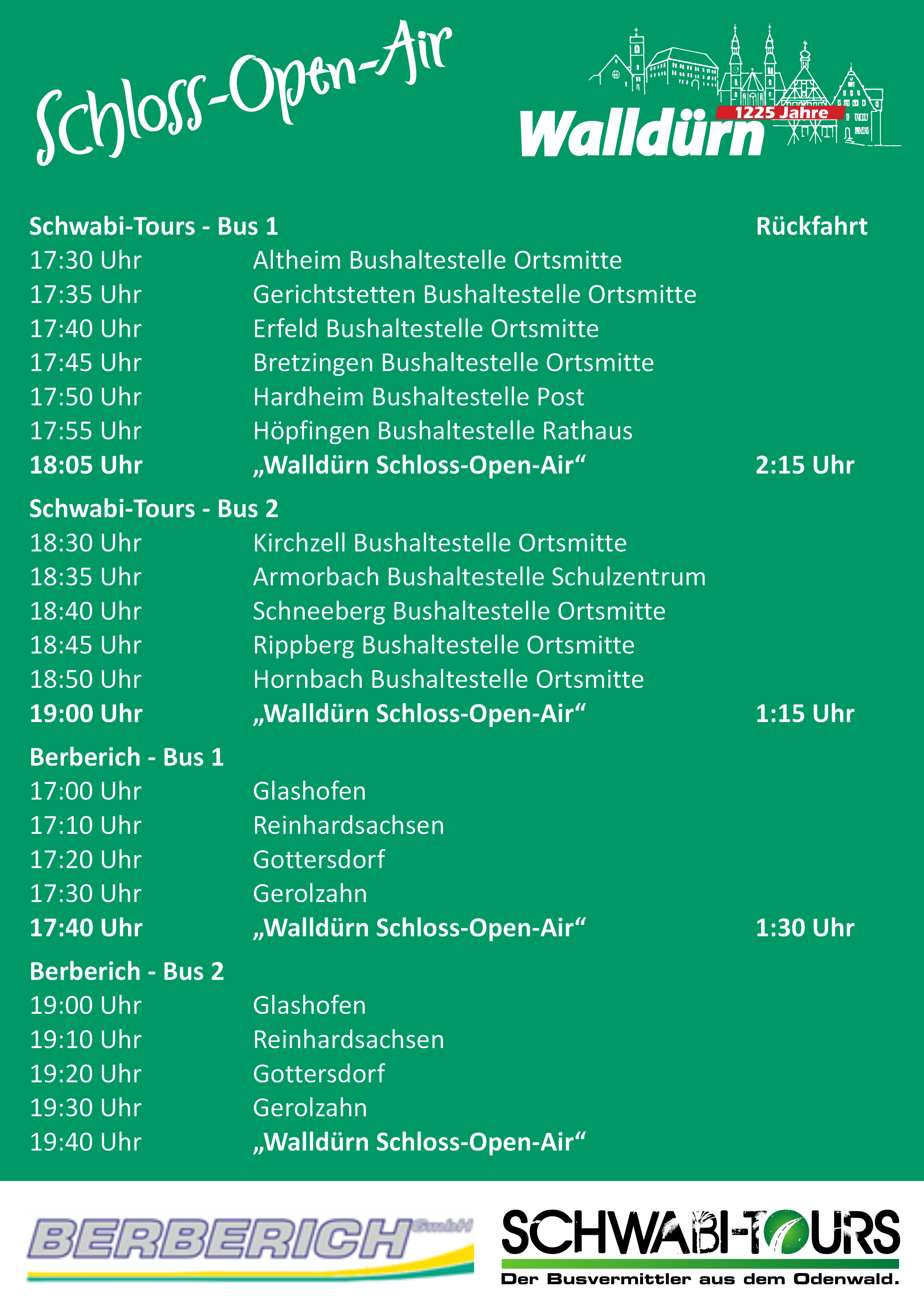 Schloss-Open-Air ShuttleService Fahrplan