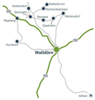 Kartenskizze von Walldürn und seinen Ortsteilen mit Verbindungsstraßen