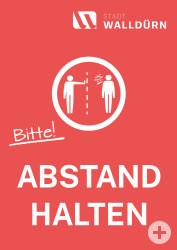 Plakat mit einem Symbol Abstände einzuhalten und dem Text bitte Abstand halten