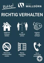 Plakat mit Hinweisen zum richtigen Verhalten