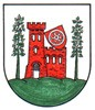 In Silber auf grünem Boden zwischen zwei grünen Linden eine rote Burg mit einem Zinnturm an der rechten Seite und einem halbgeöffneten schwarzen Fallgatter. Über der Burg schräg angelehnt an den Burgturm, ein roter Wappenschild mit Mainzerrad.