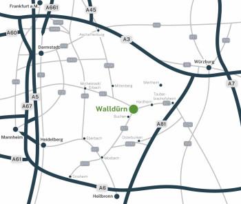 Überregionale Wegspinne von Walldürn mit Einzeichnung des Bundesfernstraßennetzes
