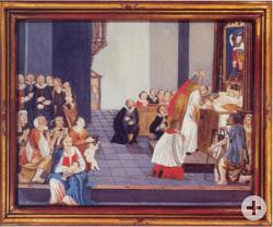 Ein Gemälde des Außenflügels des Blutaltars der Wallfahrtsbasilika. Es zeigt den Priester Heinrich Otto, welcher einen Kelch verschüttet.