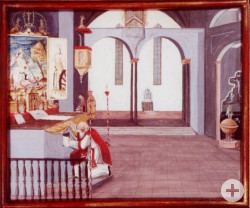 Ein Gemälde des Außenflügels des Blutaltars der Wallfahrtsbasilika. Prieser Heinrich Otto versteckt darauf das Tuch unter dem Altar.
