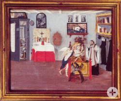 Ein Gemälde des Außenflügels des Blutaltars der Wallfahrtsbasilika. Priester Heinrich Otto bekannte sich im Angesichts des Todes seiner Tat.
