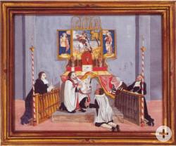 Ein Gemälde des Außenflügels des Blutaltars der Wallfahrtsbasilika. Der Papst erhält Nachricht von den Vorfällen in Walldürn.