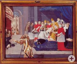 Ein Gemälde des Außenflügels des Blutaltars der Wallfahrtsbasilika. Der Papst bekommt in Rom das Tuch vorgelegt.