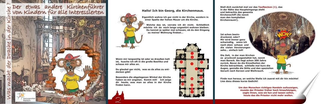 Das Deckblatt des von Kindern gestalteten Kirchenführers. Es zeigt den Innenraum und die illustrierte Maus Georg, welche in der zeitschrift alles genau erklärt.