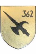 Das Abzeichen des Panzergrenadierbataillon 362. Eine schwarze Hellebarde auf silbernem Grund.