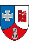 Abzeichen des Logistikbataillon 461. Ein in drei Teile gegliedertes Wappen. Das Bundeswehrkreuz, die Burg von Walldürn sowie ein zu einer Faust geformter Metallhandschuh.