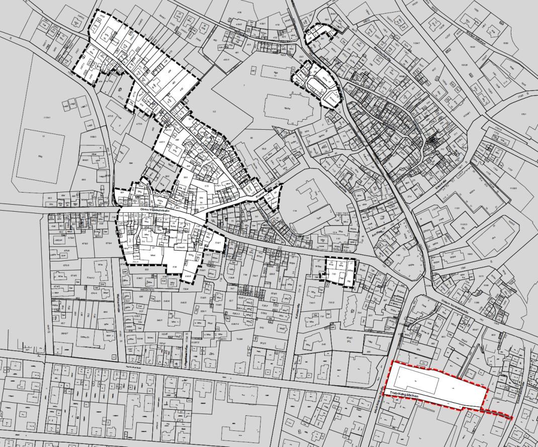 Zeichnerische Darstellung der Erweiterung des Sanierungsgebietes in einem Stadtplan