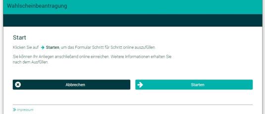 Ein Screenshot der Internetseite auf welcher das Online-Formular zum Wahlscheinantrag abgewickelt wird.