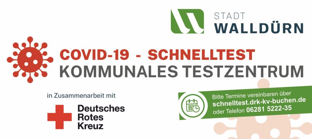 Banner mit Informationen zur Anmeldung für die COVID-19 Schnelltest im kommunalen Testzentrum Walldürn